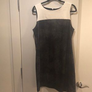 Mini dress with faux leather detail
